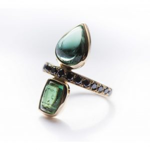 Lindley Gray diamond and tourmaline ring