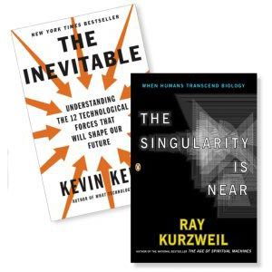 Two business books, The Inevitable and The Singularity Is Near