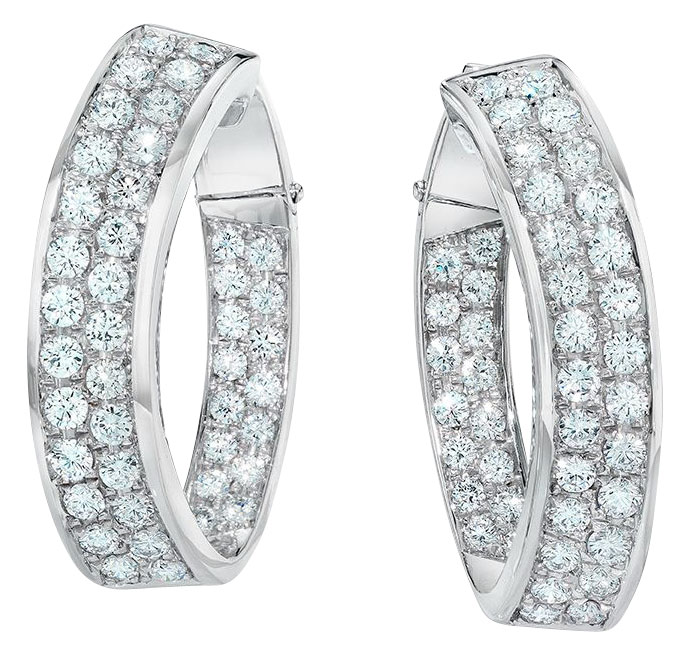Wide inside-out pave diamond hoops