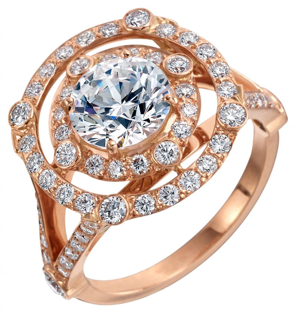 Carousel 18k pink gold double row ring