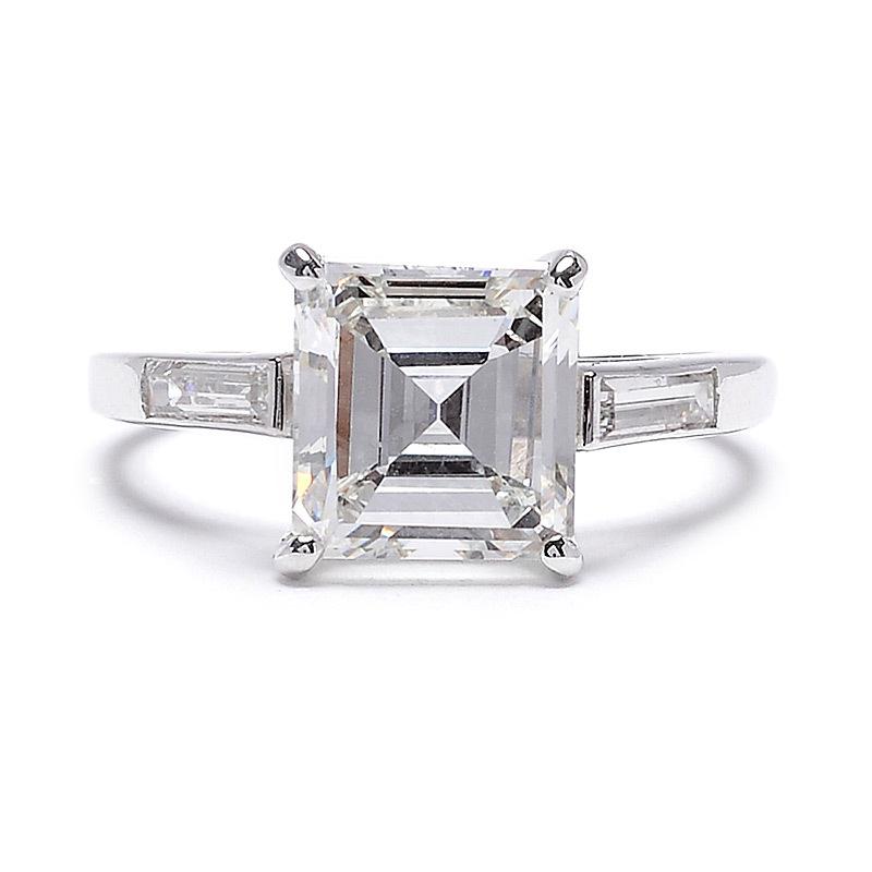 Circa 1950 engagement ring square emerald cut