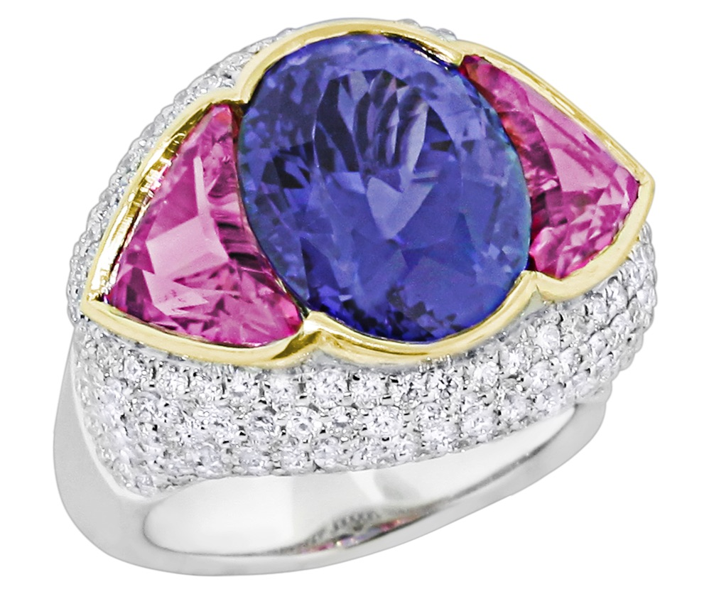 Spark tanzanite and rubellite ring