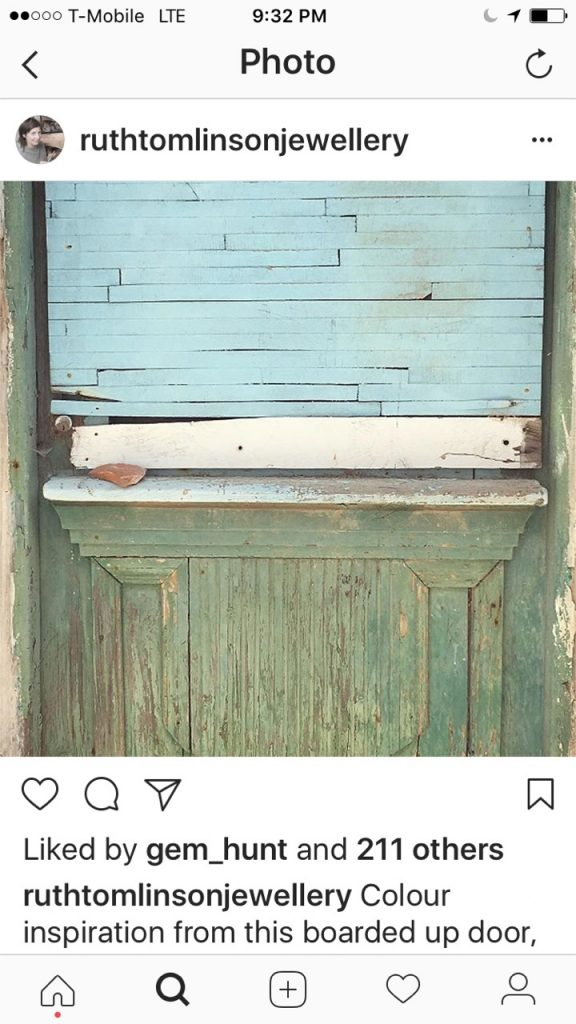 Ruth Tomlinson Instagram distressed wooden door