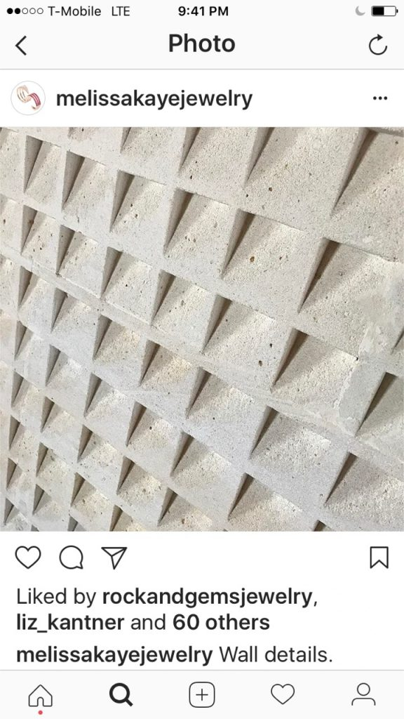 Melissa Kaye Instagram wall details