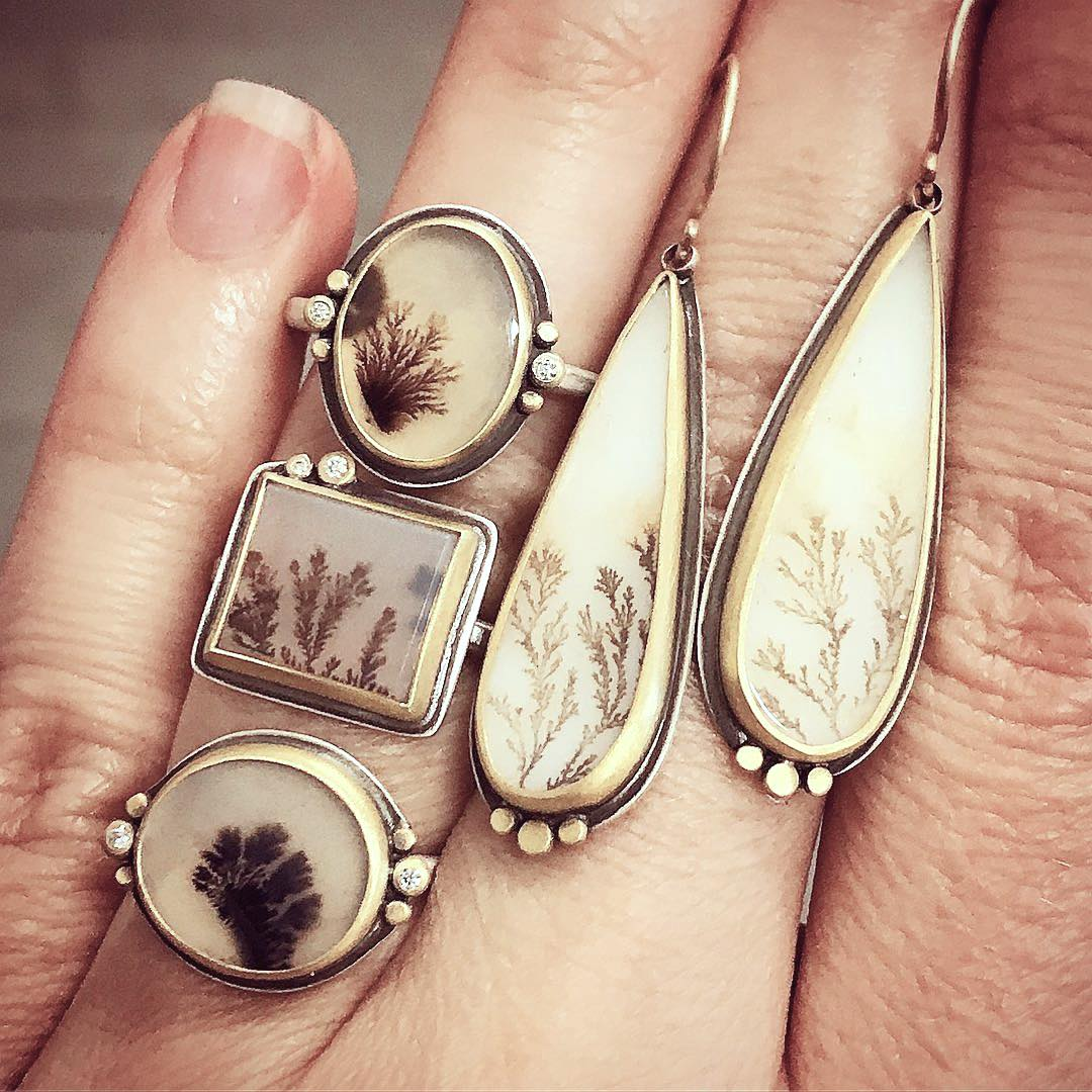 Suddenly everywhere dendritic stones jck dendritic agate rings with diamonds 695 each and dendritic agate earrings 1375 both in sterling silver with 22k gold bezels ananda khalsa aloadofball Choice Image