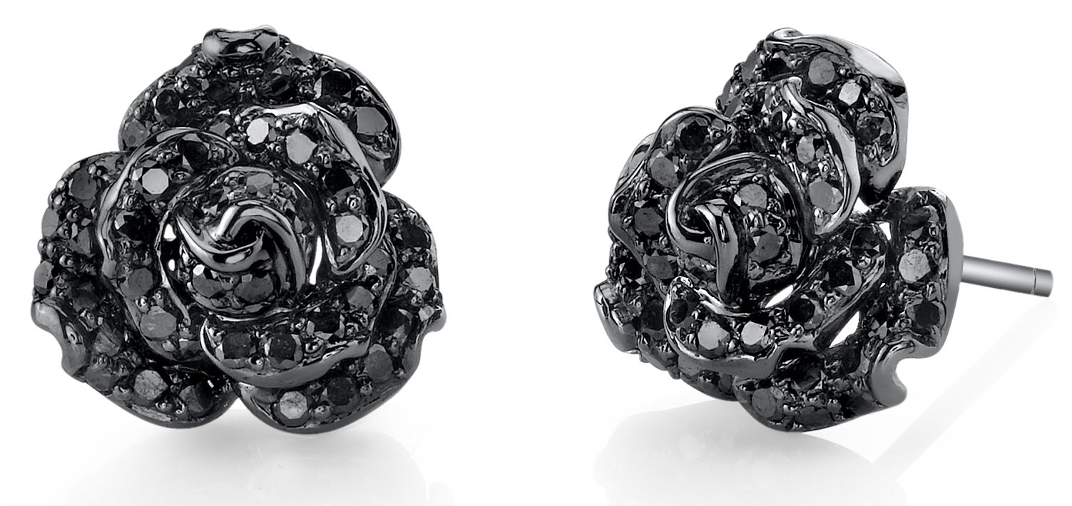 Borgioni black diamond rose earrings