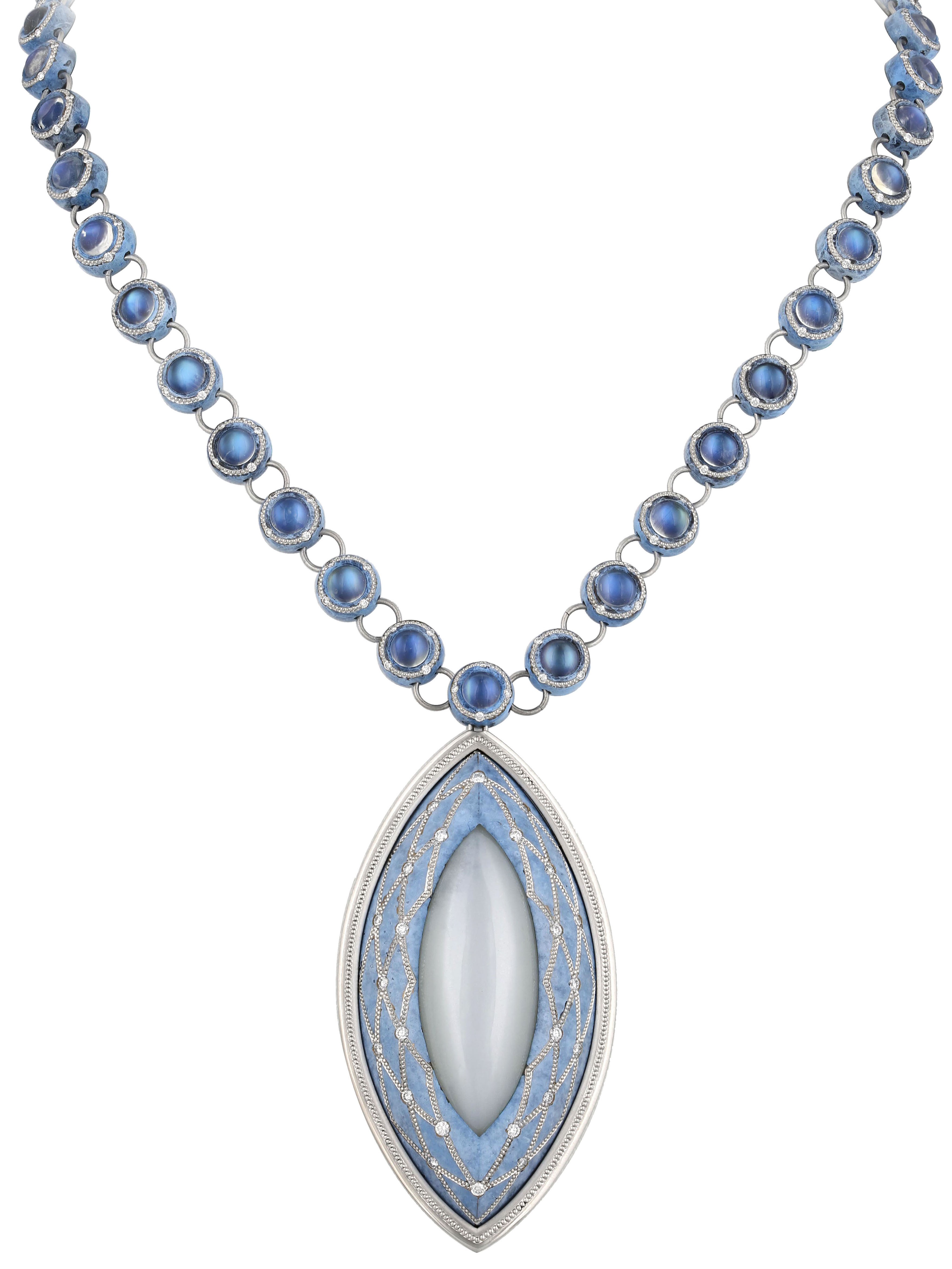 Iris pendant with marquise-cut cat's eye moonstone