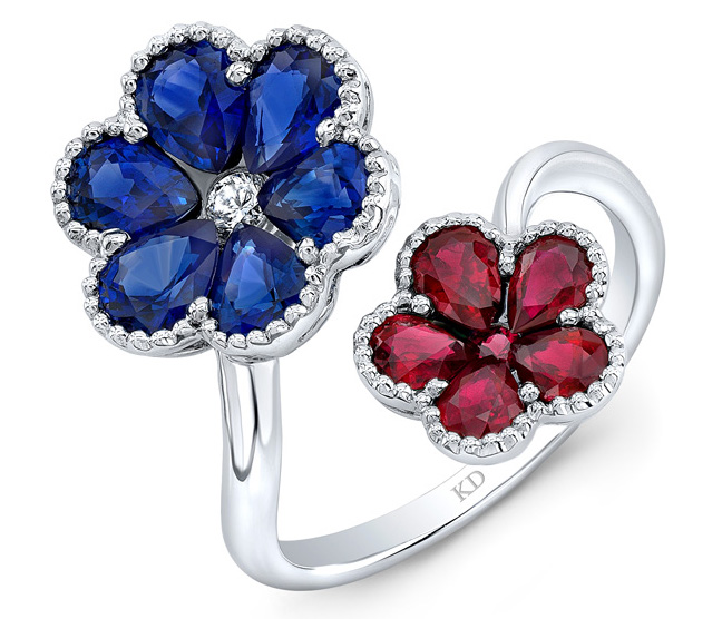 Kattan ruby and sapphire flower ring