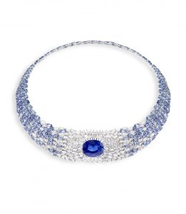Piaget's Sunlight Journey collar necklace with oval cut Ceylon sapphire