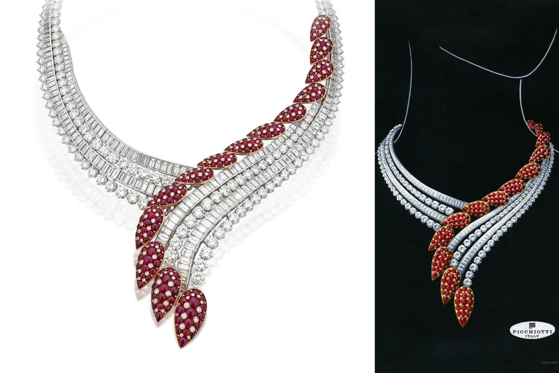1990s award winning Ruby Cascade necklace