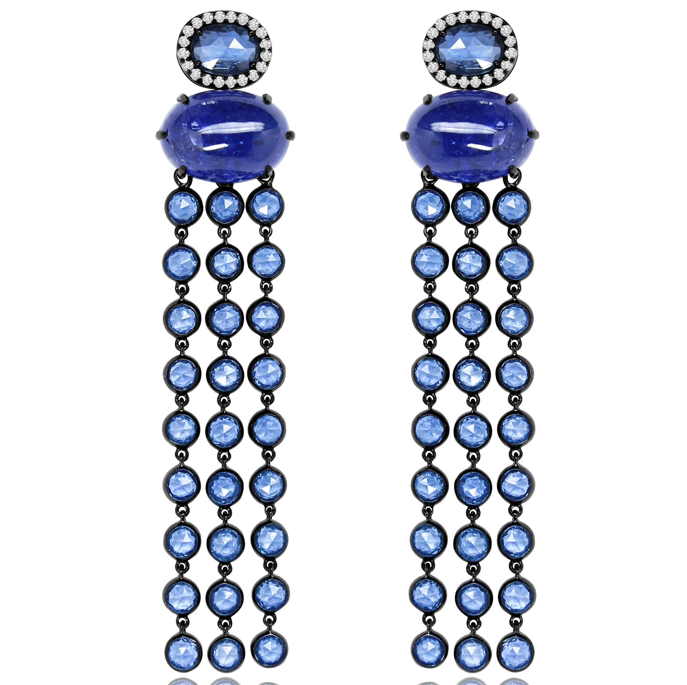moon tanzanite rose earrings cut stone and content diamond stud with