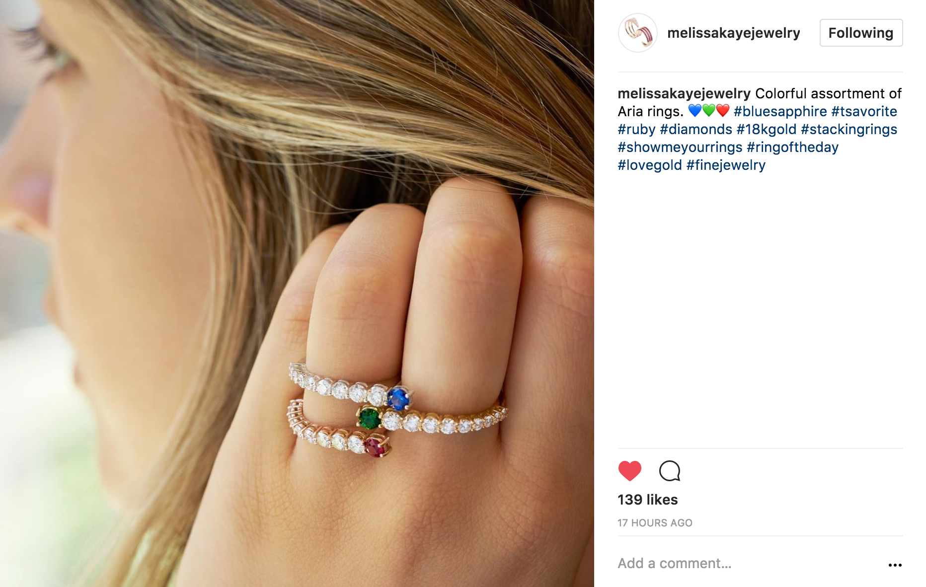 melissakayejewelry Instagram of aria rings