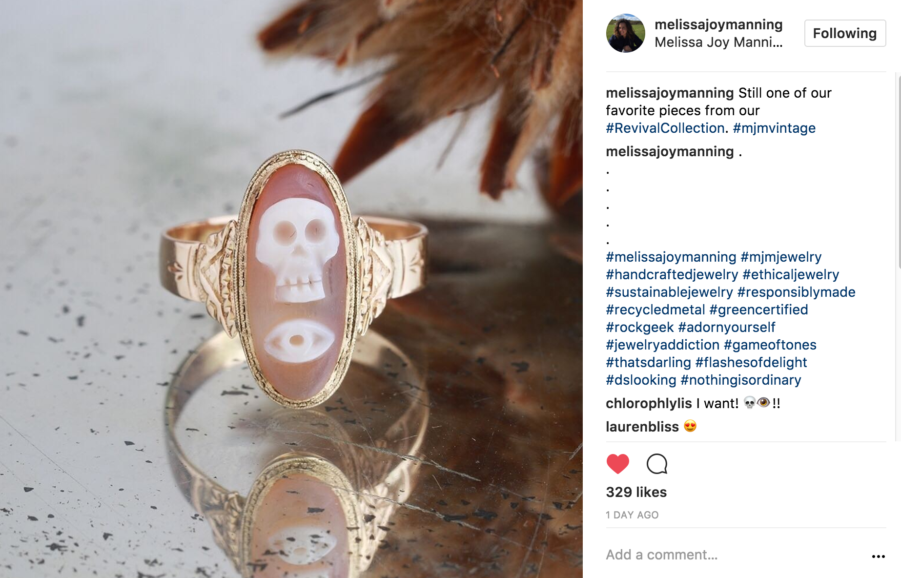 melissajoymanning Instagram of skull ring from revival collection
