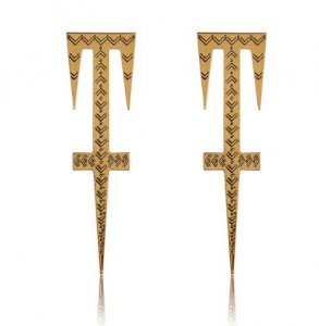 Luv AJ Etched Sword brass earrings