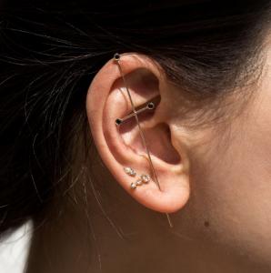 Labulgara gold and black diamond earring