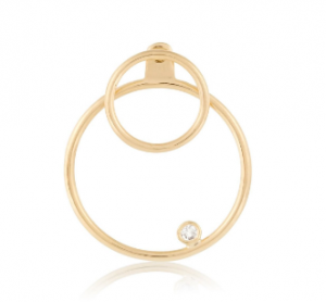 S&S Gold circle ear jacket with diamond