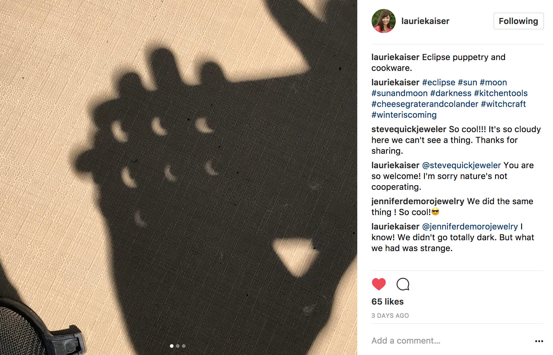 Instagram eclipse puppetry and cookware