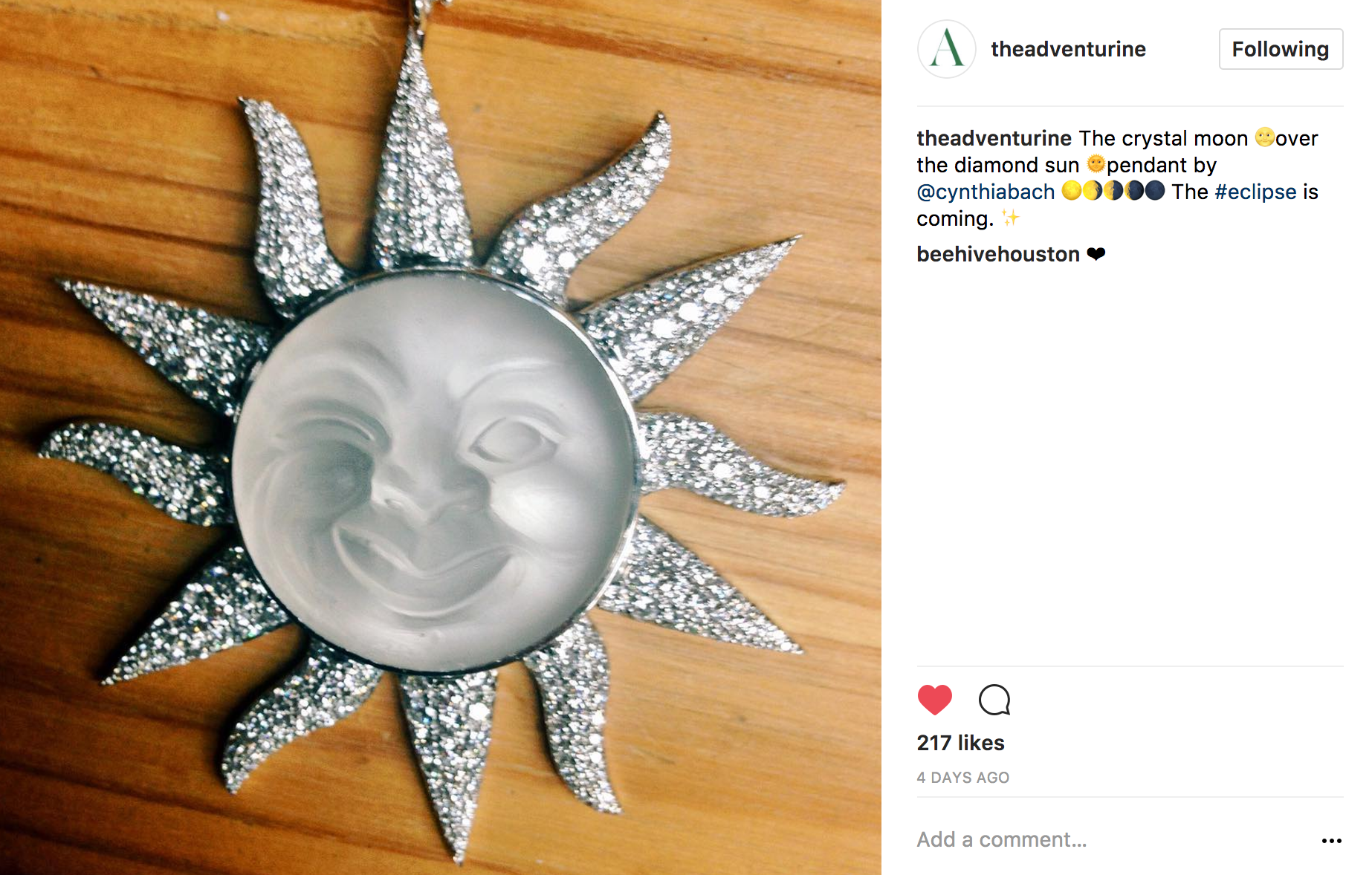 Instagram crystal moon over diamond sun
