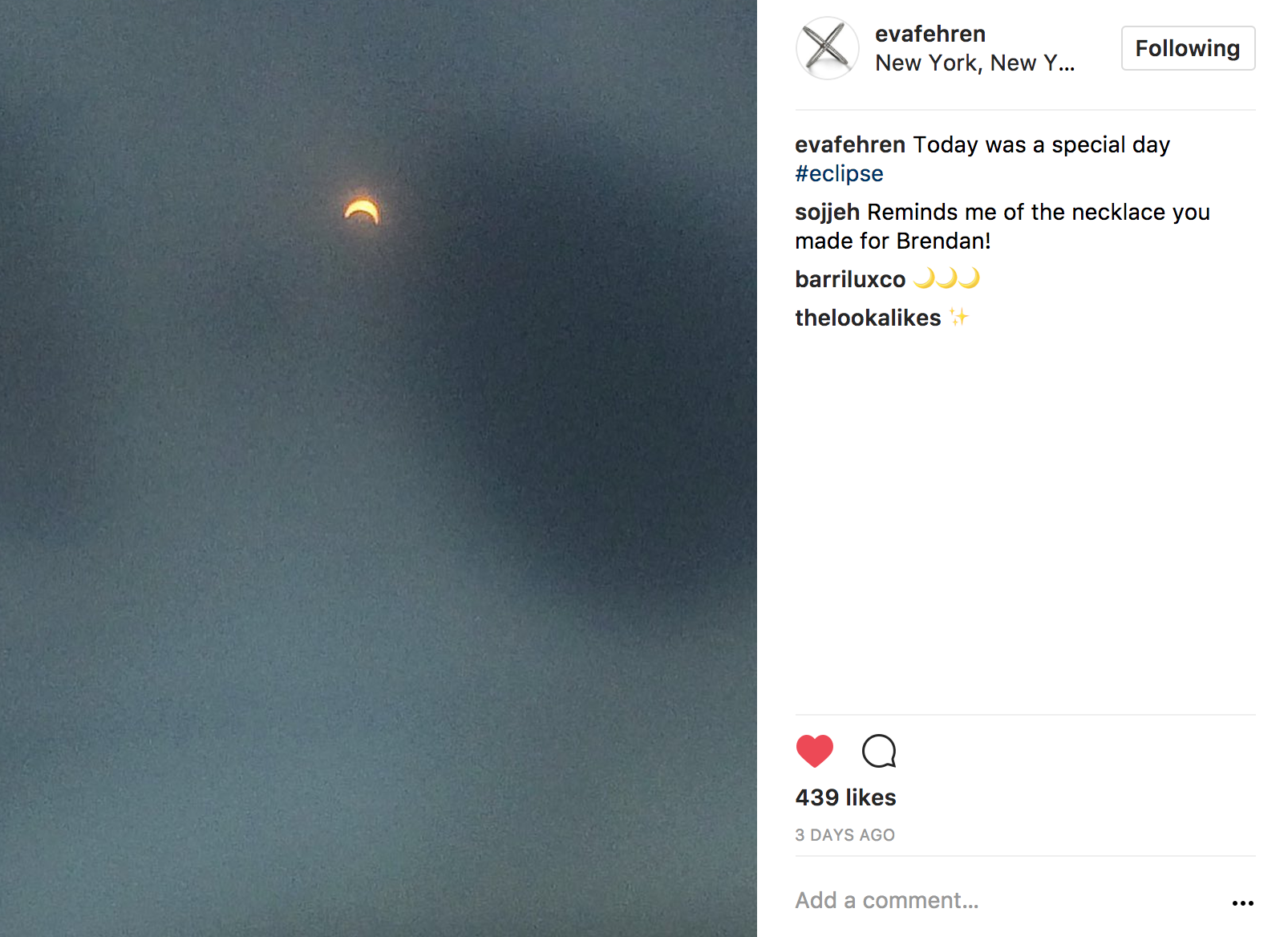 Instagram solar eclipse day