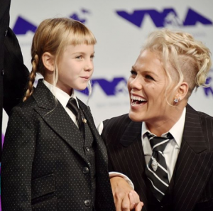 Pink with daughter in diamond earrings