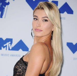 Hailey Baldwin in Lana Jewelry's Reckless Link hoop earrings