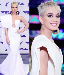 Katy Perry in custom Mariel Washere dress and flat circle earrings