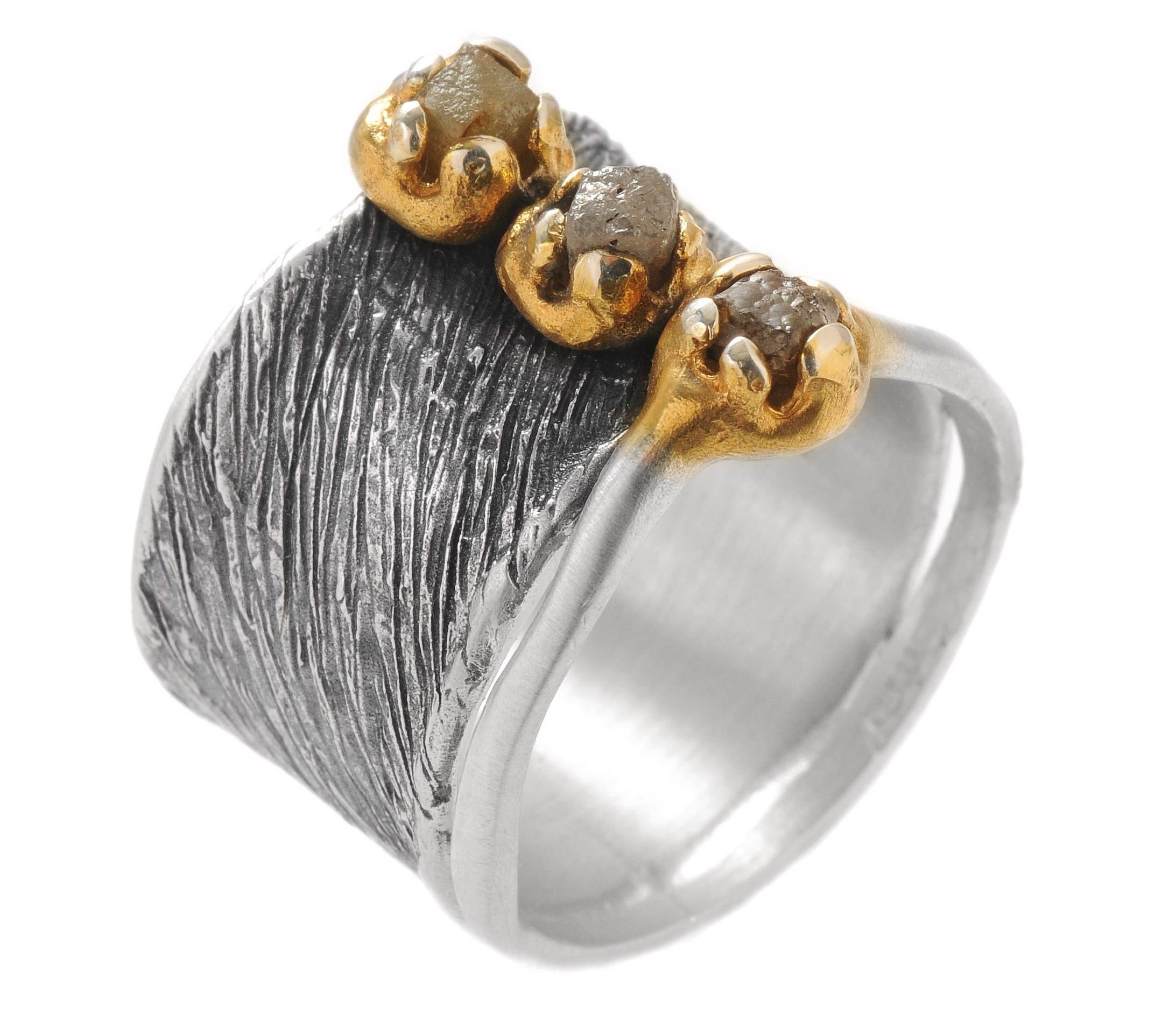 Ring in sterling silver with raw diamonds