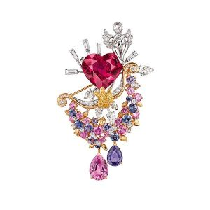 Van Cleef Arpels Secret des Amoureux clip featuring a 12.04 ct. heart-shape rubellite