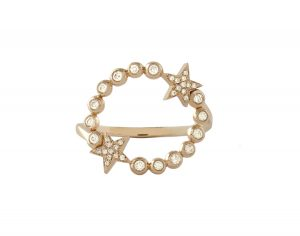Shooting Star ring in rose gold with diamonds