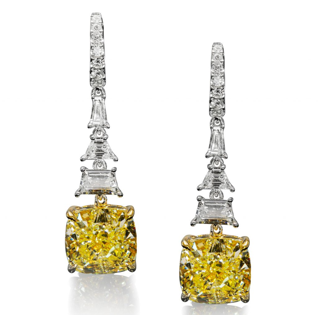 Paris earrings in 18k white gold with yellow diamonds