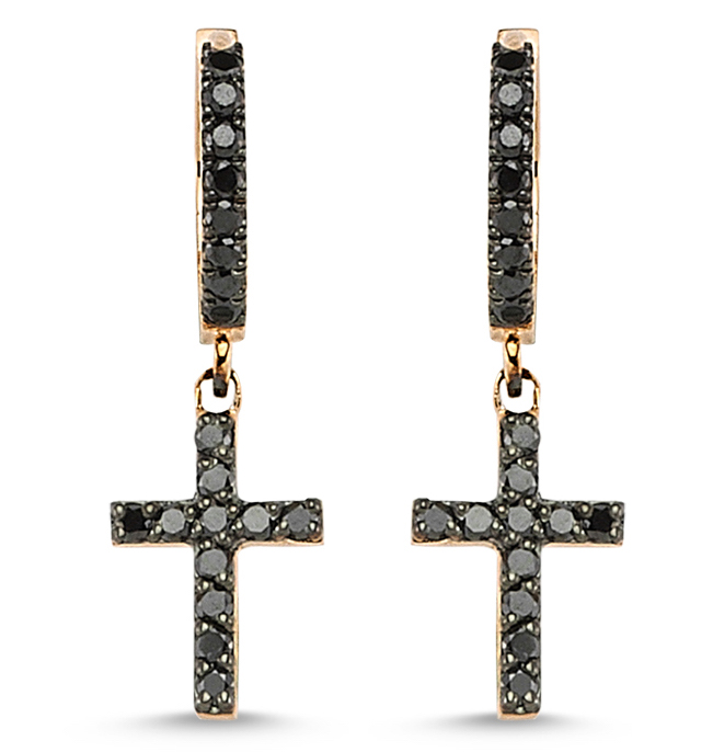 ZDNY cross charm huggie earrings