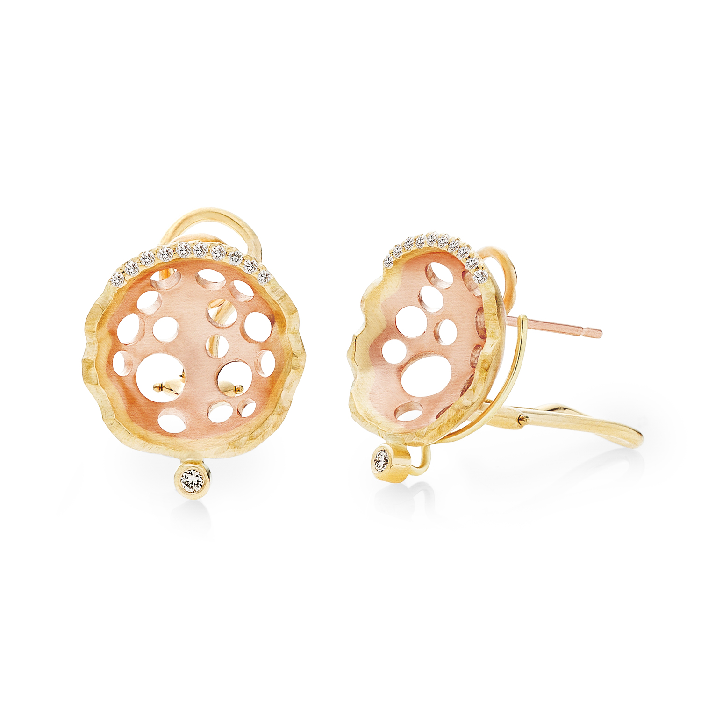 Open Lily Earrings in 18k rose gold