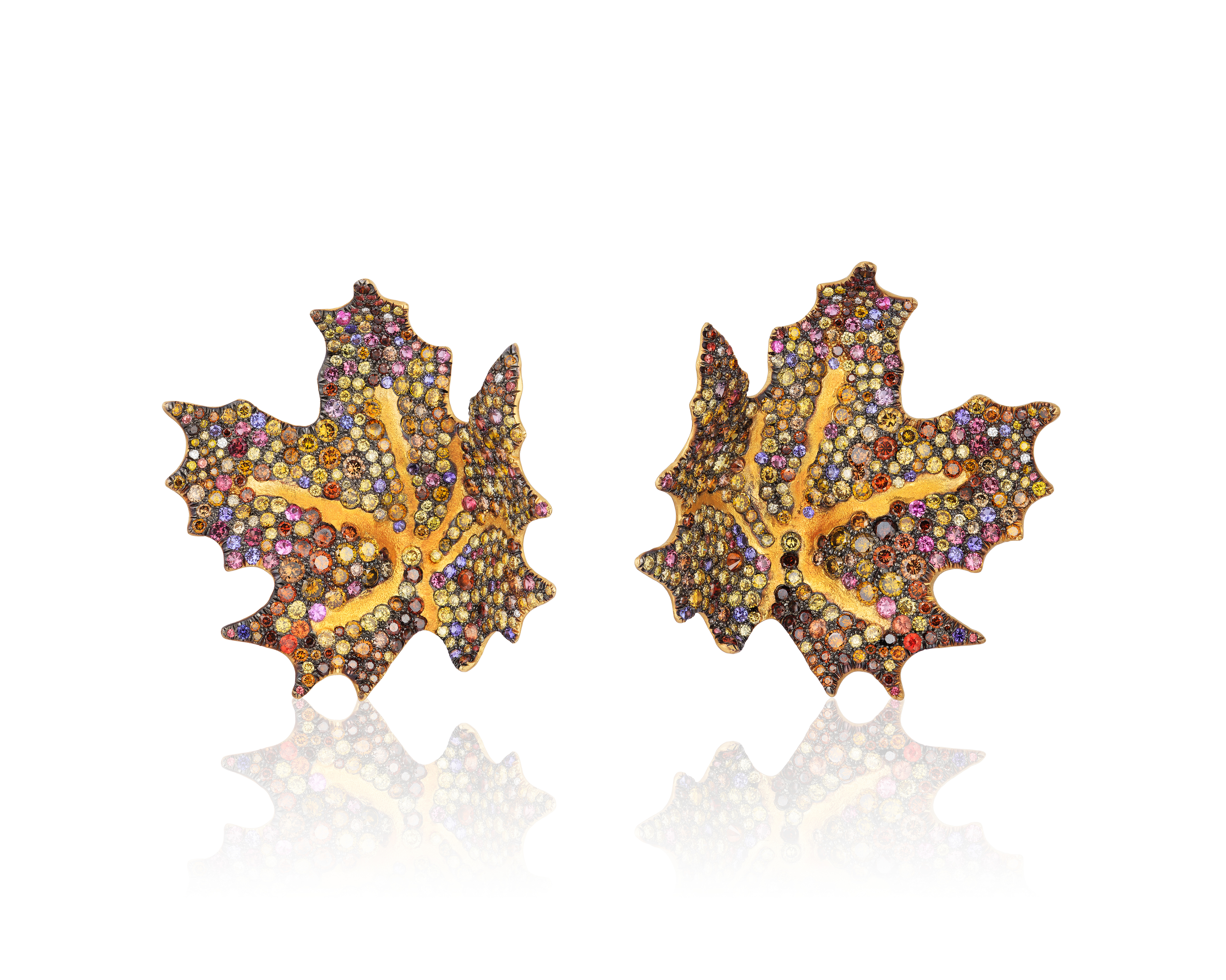 Maple Leaf Earrings with diamonds sapphires and garnets