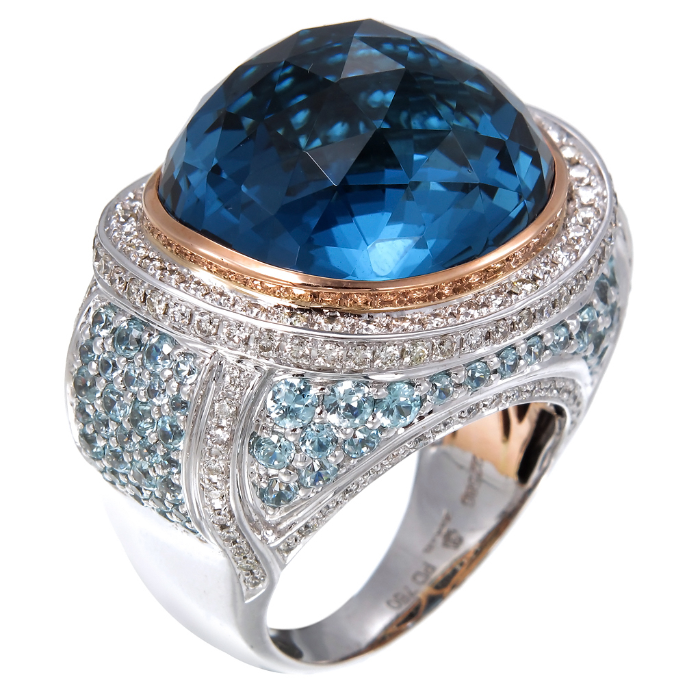 Zorab Atelier blue topaz cocktial ring | JCK On Your Market