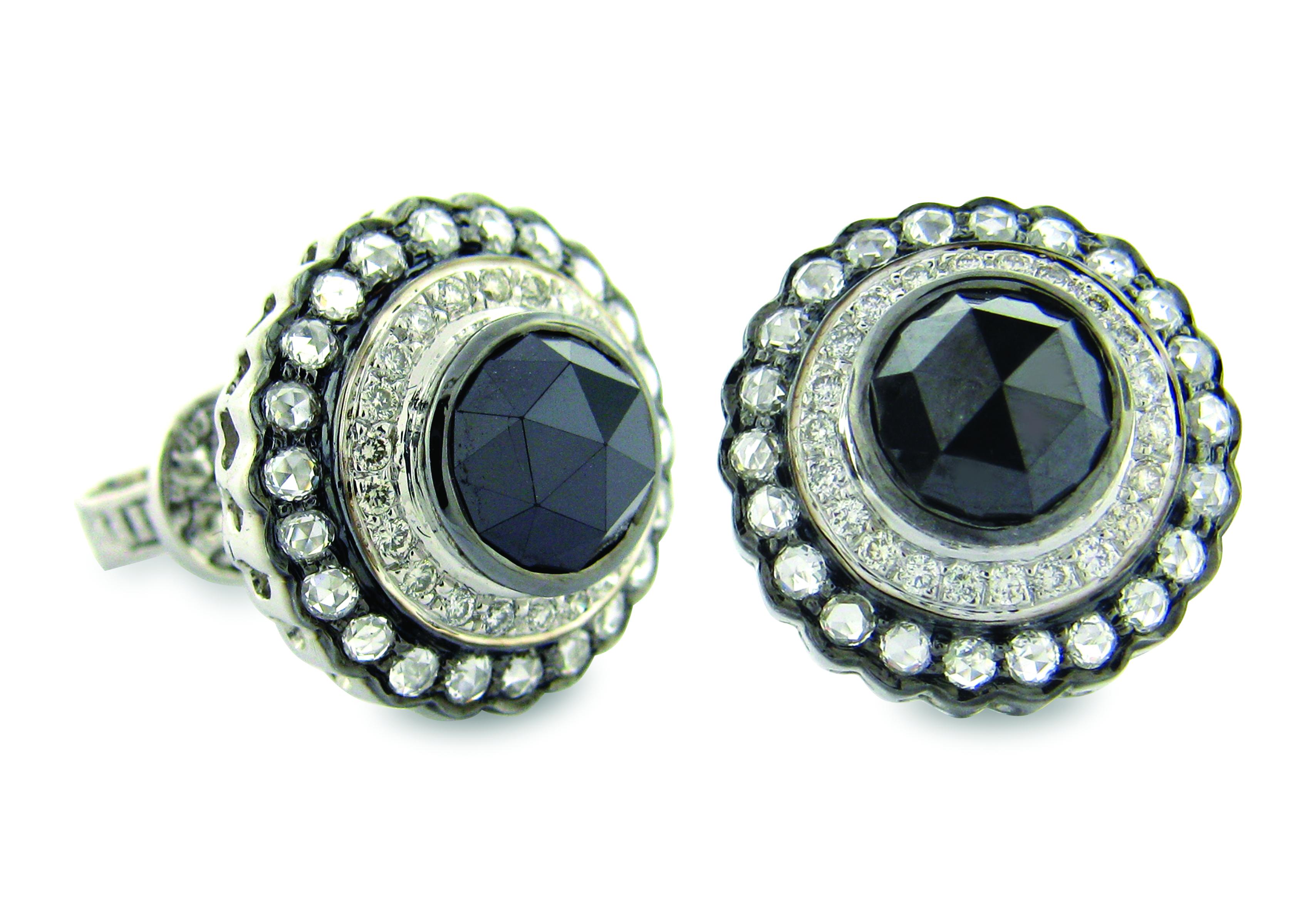 Rose-cut black diamond earrings