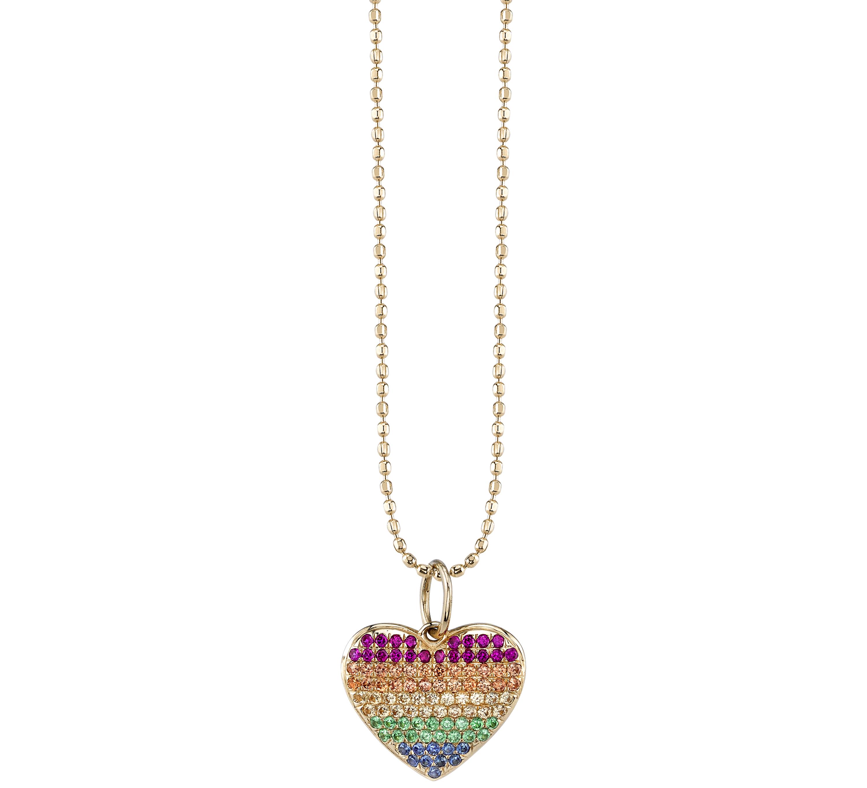 Sydney Evan rainbow heart necklace