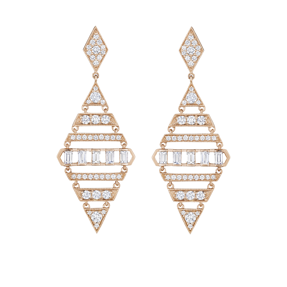 Moderne Large Diamond Shape Deco Earrings