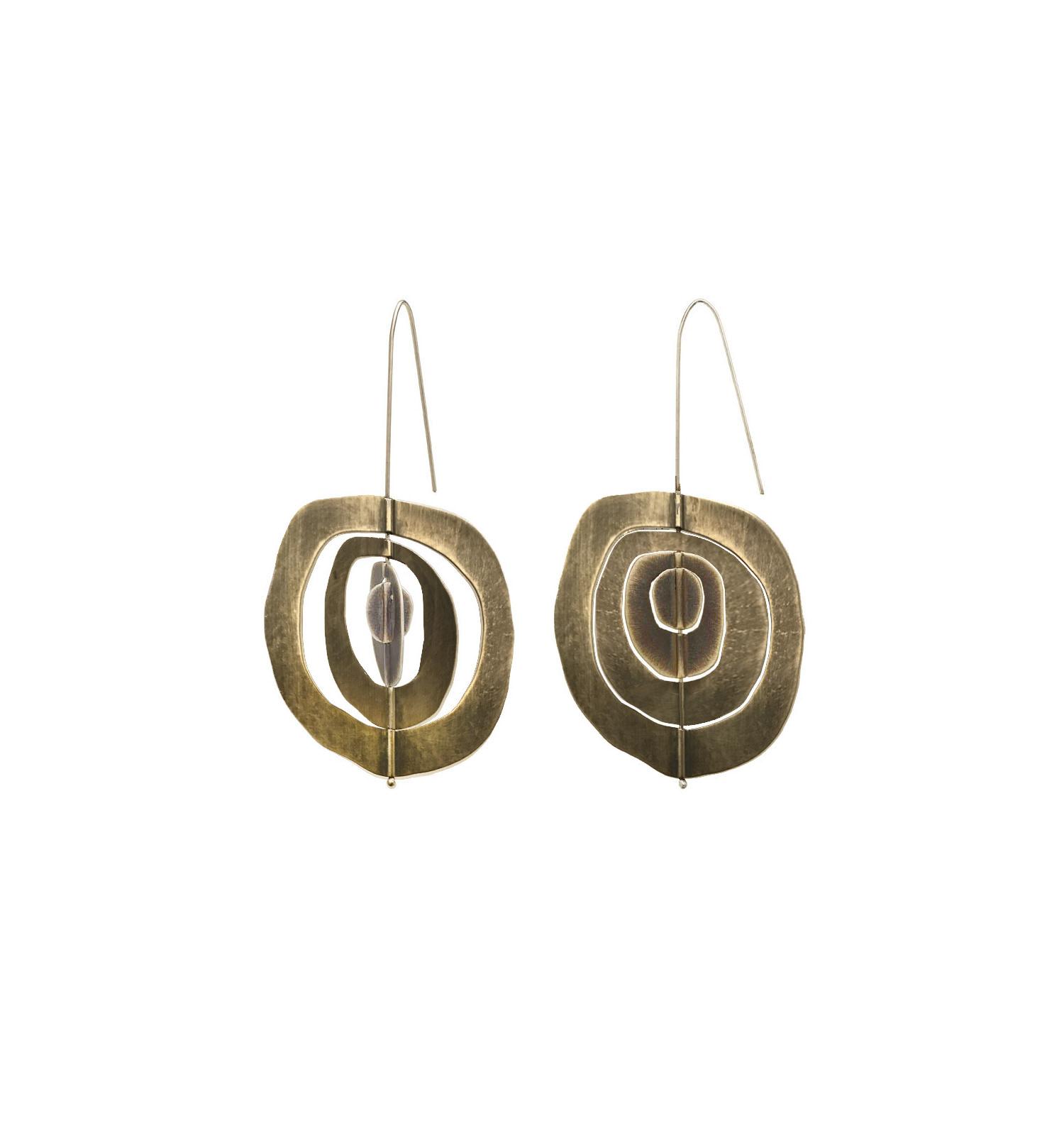 Allium Slice Earrings in brushed sterling silver