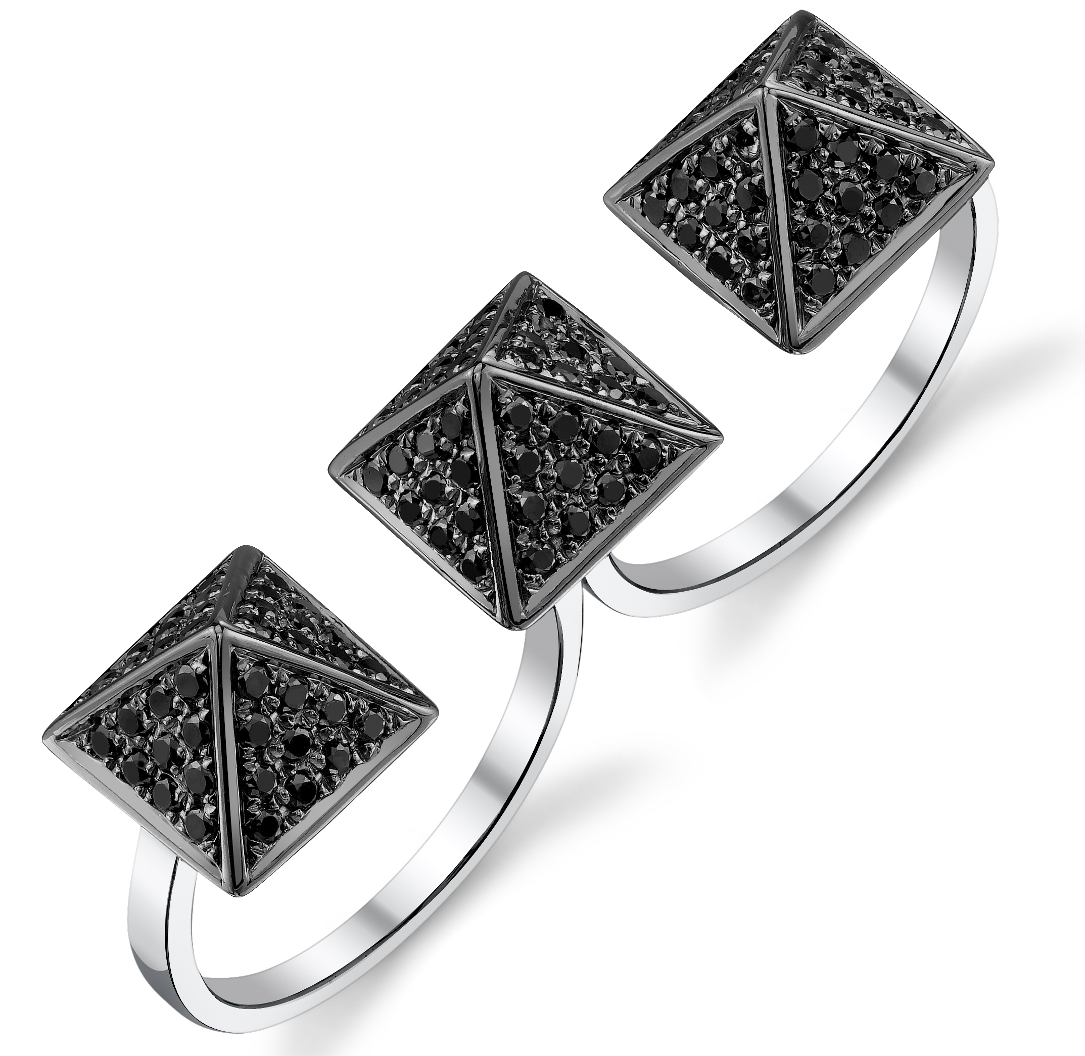 Borgioni black diamond pyramid double ring | JCK On Your Market