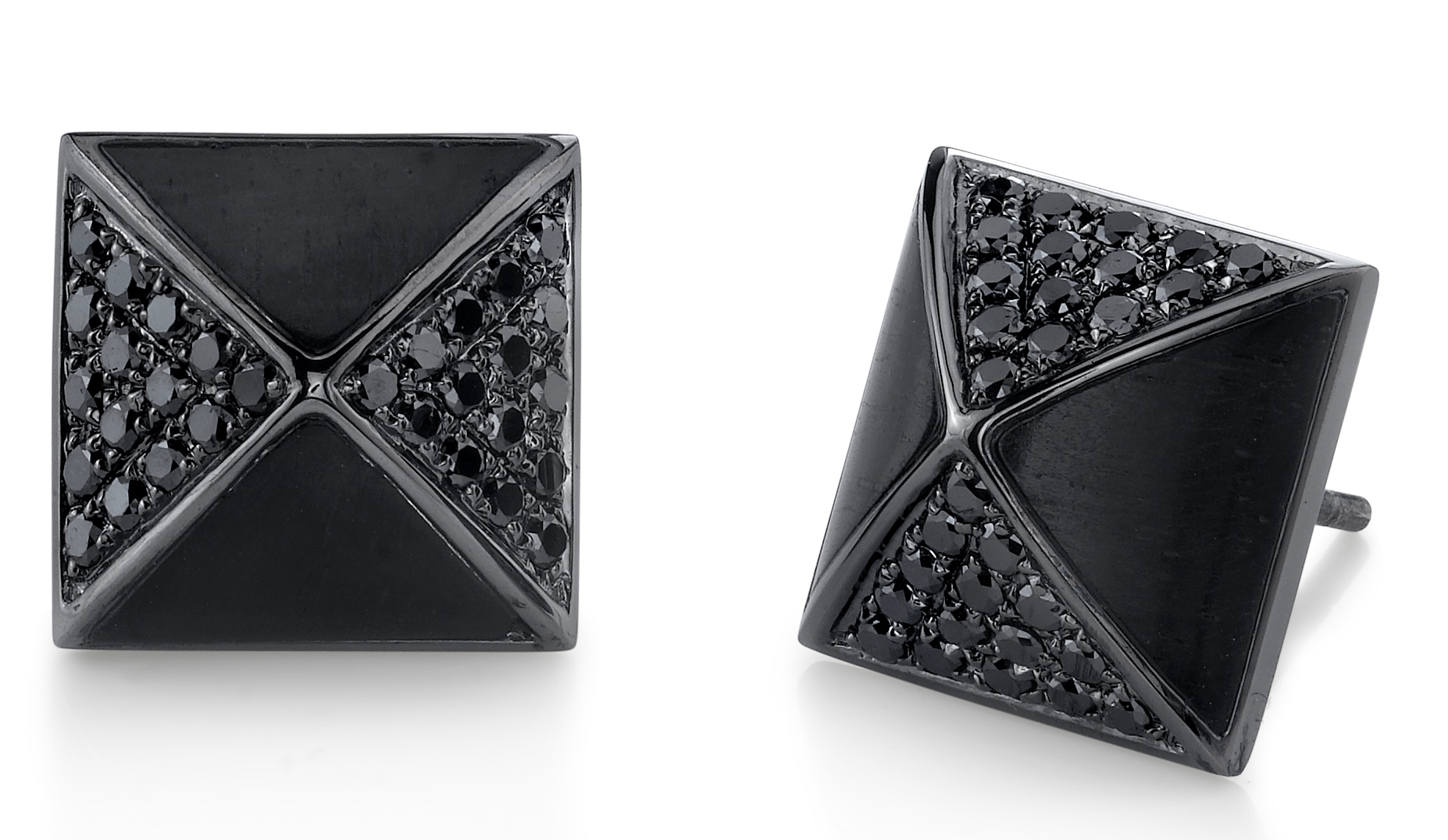 Borgioni black diamond ebony wood studs | JCK On Your Market
