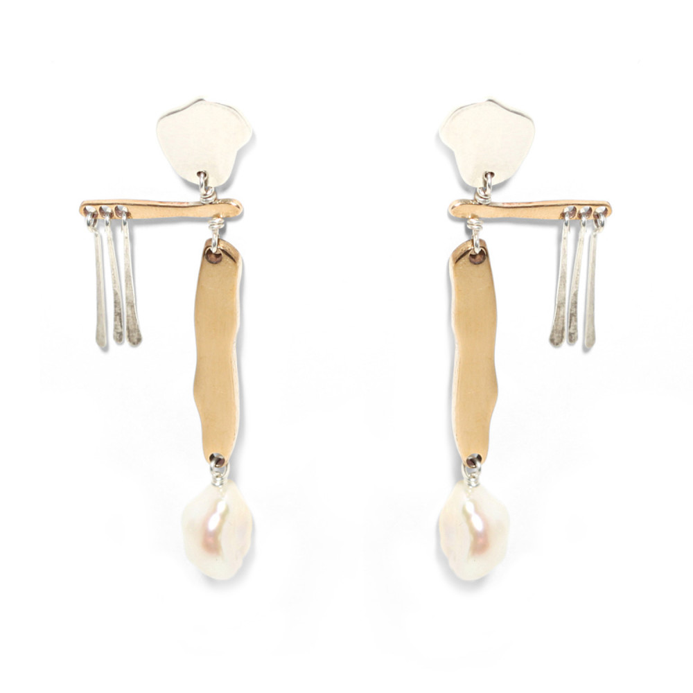 Mobile Earrings with baroque pearl drops