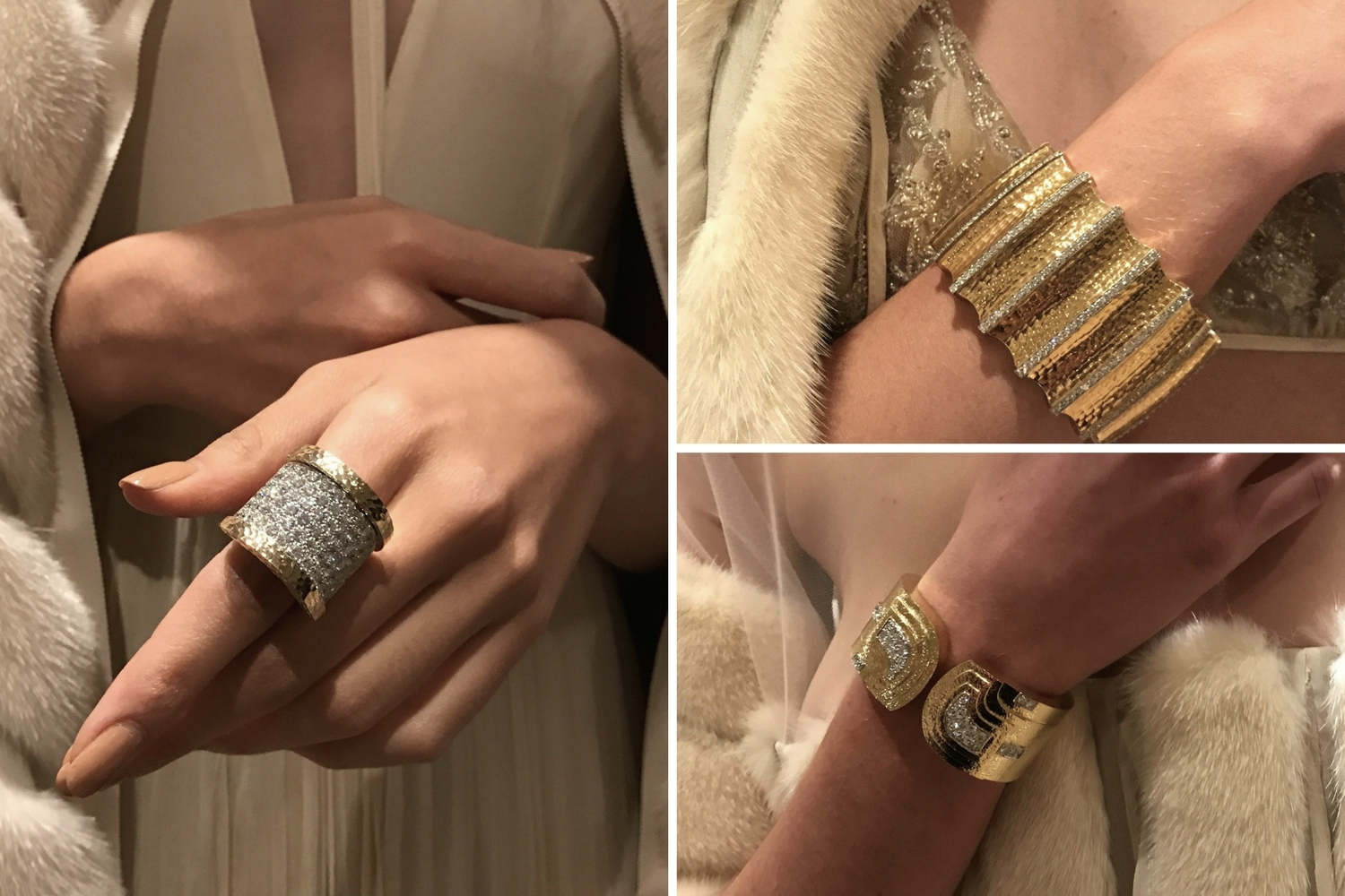 Bold gold accents glittering with diamonds