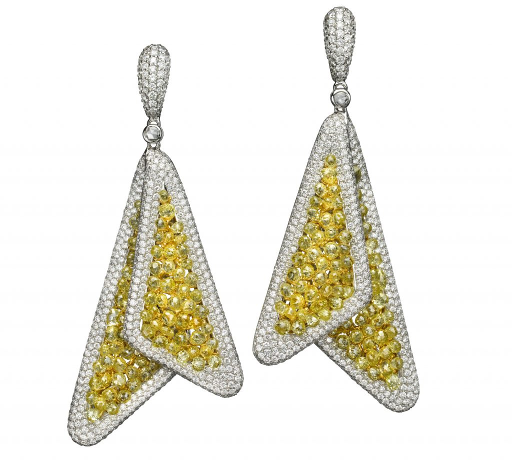 Butani yellow diamond earrings