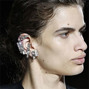 Earrings at Saint Laurent show