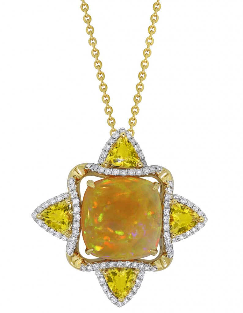 Spark pendant in yellow and white gold