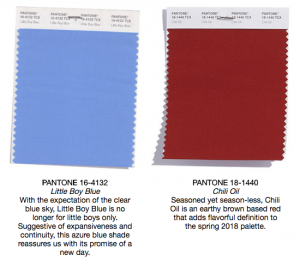 Pantone colors little boy blue and chili oil