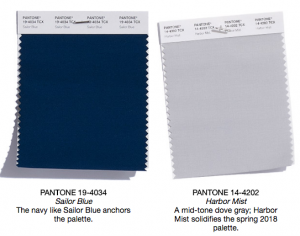 Pantone classics sailor blue and harbor mist