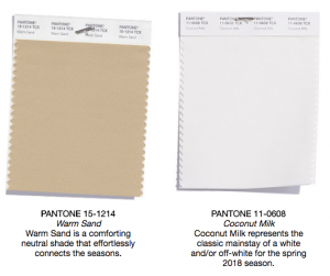 Pantone classics warm sand and coconut milk