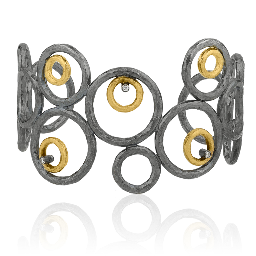 Bubbles Bracelet with diamonds in gold and oxidized sterling silver