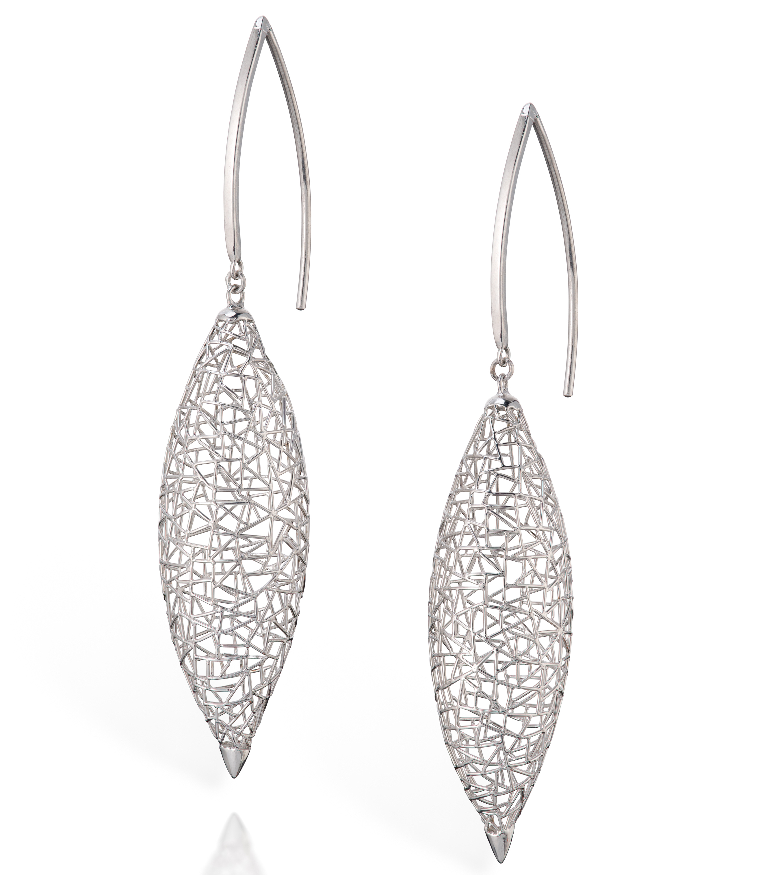 Baiyang Qiu platinum marquise earrings | JCK On Your Market